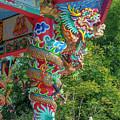 Wat Pa Neramit Mae Taeng Chinese Shrine Dragon Pillar Dthcm2069 by Gerry Gantt
