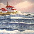 Watch Hill Lighthouse In Breaking Sun by William H RaVell III