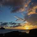 Watching The Sunset At Trebarwith Strand by Pete Hemington