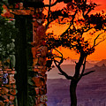 Watchtower Stormy Sunset Triptych Left Panel by Greg Norrell