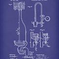 Water Closet Patent Art Blue by Prior Art Design