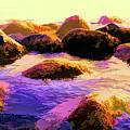 Water Color Like Rocks In Ocean At Sunset by Josephine Cleopahrt
