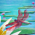 Water Lilies And Dragonfly by Susan Kubes