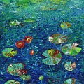 Water Lily Lotus Lily Pads Paintings by Seon-Jeong Kim