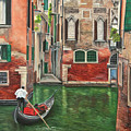 Water Taxi On Venice Side Canal by Charlotte Blanchard
