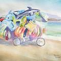 Water Toy Vendor On Teh Beaches Of Santiago Bay, Manzanillo by Diane Binder
