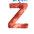 Watercolor alphabet Z letter abstract crocodile large poster by Joanna Szmerdt