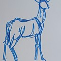 Watercolor Blue Line Drawing Of Deer With Antlers by Mike Jory
