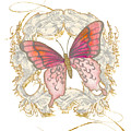 Watercolor Butterfly With Vintage Swirl Scroll Flourishes by Audrey Jeanne Roberts