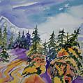 Watercolor - Colorado Winter Mountain Landscape Impression by Cascade Colors