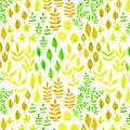 Watercolor Doodle Leaves Pattern White  by Katerina Kirilova
