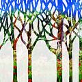 Watercolor Forest Silhouette Summer by Irina Sztukowski