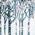 Watercolor Forest Silhouette Winter by Irina Sztukowski