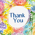 Watercolor Garden Thank You- Art By Linda Woods by Linda Woods
