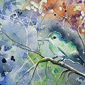 Watercolor - Hummingbird With Impressionistic Background by Cascade Colors