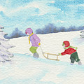 Watercolor Illustration Showing Two Children Pulling Sledge Uphi by Ewa Hearfield