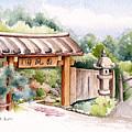 Watercolor Japanese Garden Gate by Karla Beatty