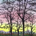 Watercolor Landscape Sunrise In The Mountains by Irina Sztukowski