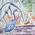Watercolor - Little Blue Heron In Mangrove Forest by Cascade Colors
