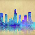 Watercolor Los Angeles Skylines On An Old Paper by Georgeta Blanaru