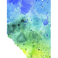 Watercolor Map Of Alberta, Canada In Blue And Green  by Andrea Hill