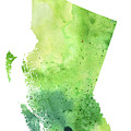 Watercolor Map Of British Columbia, Canada In Green  by Andrea Hill