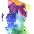 Watercolor Map Of British Columbia, Canada In Rainbow Colors  by Andrea Hill