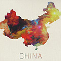 Watercolor Map Of China by Design Turnpike