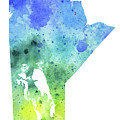 Watercolor Map Of Manitoba, Canada In Blue And Green  by Andrea Hill