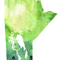 Watercolor Map Of Manitoba, Canada In Green by Andrea Hill