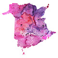 Watercolor Map Of New Brunswick, Canada In Pink And Purple  by Andrea Hill