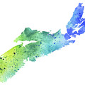 Watercolor Map Of Nova Scotia, Canada In Blue And Green  by Andrea Hill