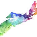 Watercolor Map Of Nova Scotia, Canada In Rainbow Colors  by Andrea Hill