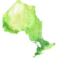 Watercolor Map Of Ontario, Canada In Green  by Andrea Hill