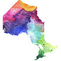 Watercolor Map Of Ontario, Canada In Rainbow Colors  by Andrea Hill