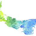 Watercolor Map Of Prince Edward Island, Canada In Blue And Green  by Andrea Hill