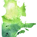 Watercolor Map Of Quebec, Canada In Green  by Andrea Hill
