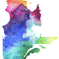 Watercolor Map Of Quebec, Canada In Rainbow Colors  by Andrea Hill