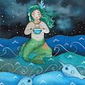 Watercolor Mermaid Feeding Her Narwhals by Liliya Suleymanova