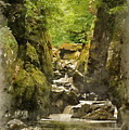 Watercolor Painting Of Beautiful Ethereal Landscape Of Deep Sided Gorge With Rock Walls And Stream F by Matthew Gibson
