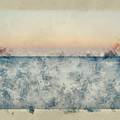 Watercolor Painting Of Beautiful Seascape Image Of Calm Ocean At Sunset by Matthew Gibson