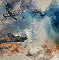 Watercolor Painting Of Flight Formation Of Battle Of Britain World War Two Consisting Of Lancaster B by Matthew Gibson