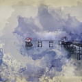 Watercolor Painting Of Landscape Of Victorian Pier With Moody Sk by Matthew Gibson