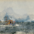 Watercolor Painting Of Pleasure Cruise Boat On Menai Straits In Anglesey Wales. by Matthew Gibson