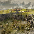 Watercolor Painting Of Public Footpath Signposts In Landscape In by Matthew Gibson