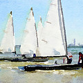 Watercolor Painting Of Small Dinghy Boats by Anita Van Den Broek