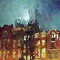 Watercolor Painting Of Spooky Houses At Night by Anita Van Den Broek