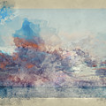 Watercolor Painting Of Stunning Sunset Cloud Formation Over Calm Sea Landscape by Matthew Gibson