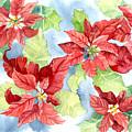 Watercolor Poinsettias Christmas Decor by Audrey Jeanne Roberts