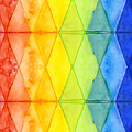 Watercolor Rainbow Pattern Geometric Shapes Triangles by Olga Shvartsur